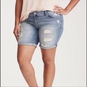 Torrid plus size 18 denim distressed cuffed shorts